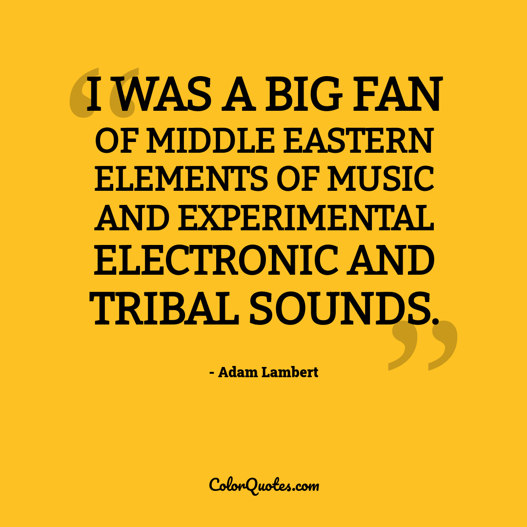 I was a big fan of Middle Eastern elements of music and experimental electronic and tribal sounds.