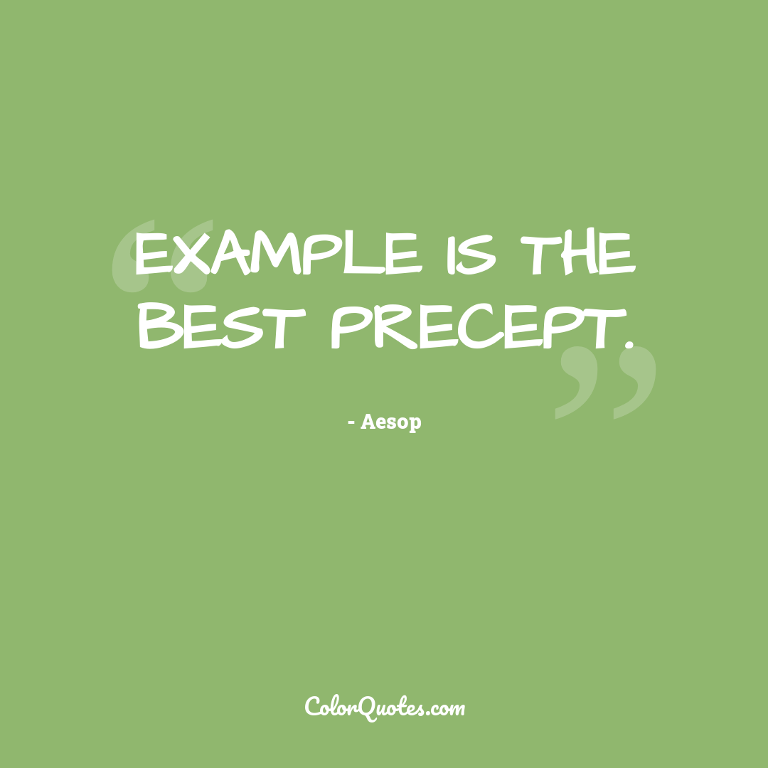 Example is the best precept.