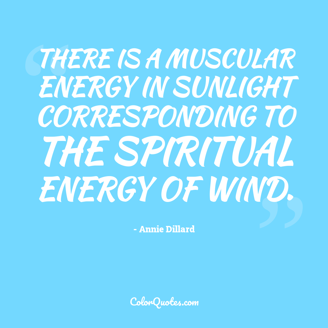 There is a muscular energy in sunlight corresponding to the spiritual energy of wind.