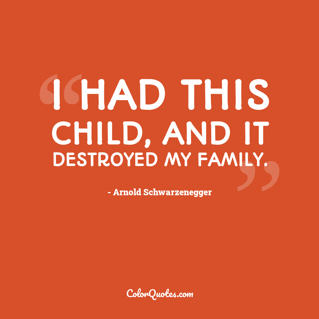 I had this child, and it destroyed my family.