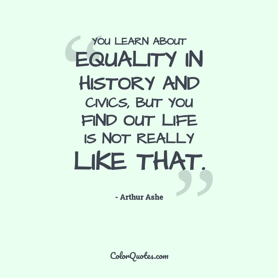 You learn about equality in history and civics, but you find out life is not really like that.