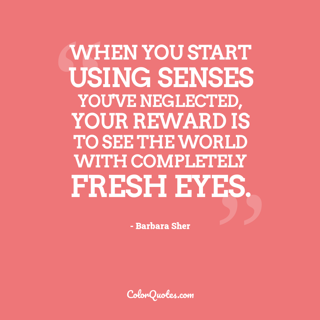 When you start using senses you've neglected, your reward is to see the world with completely fresh eyes.
