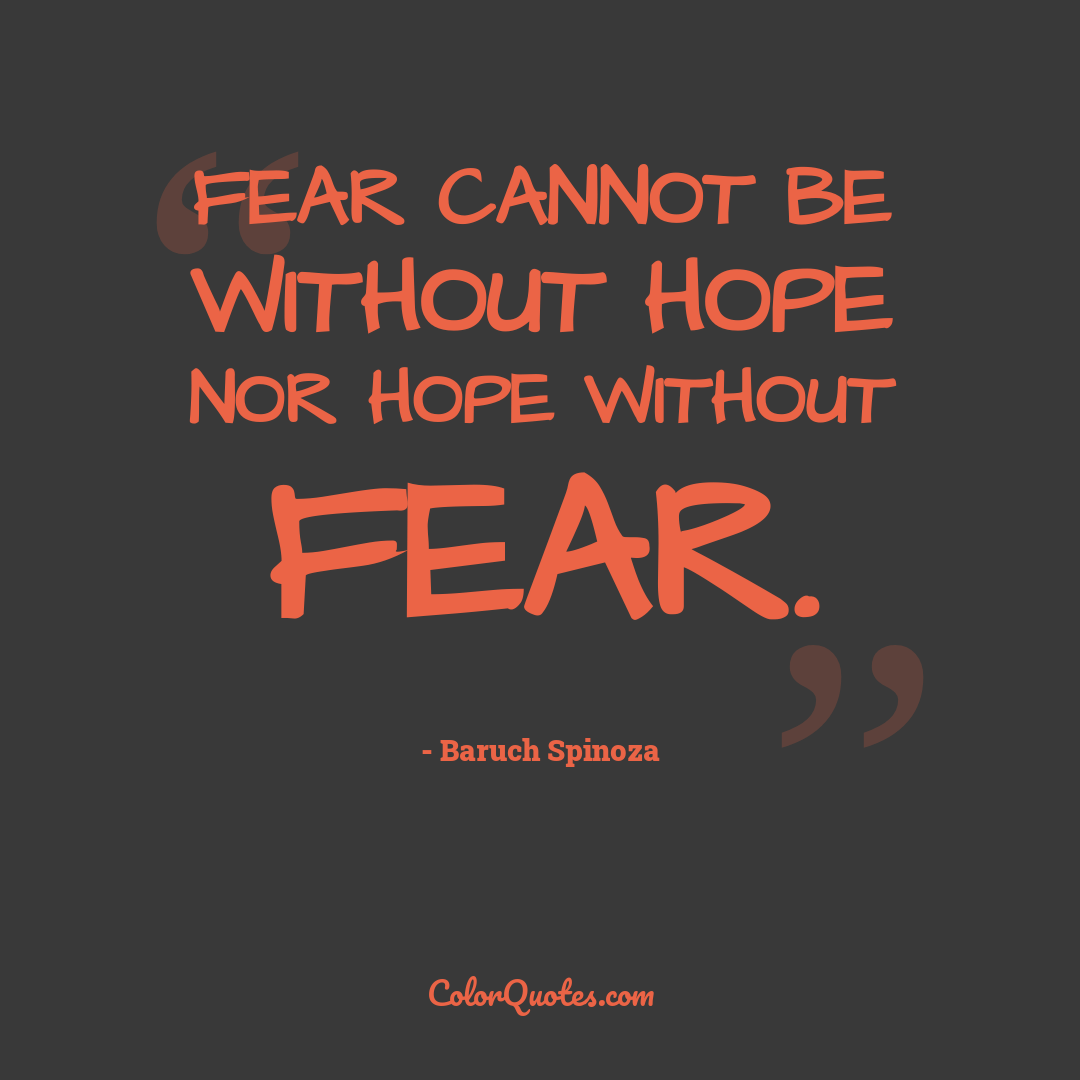 Fear cannot be without hope nor hope without fear.