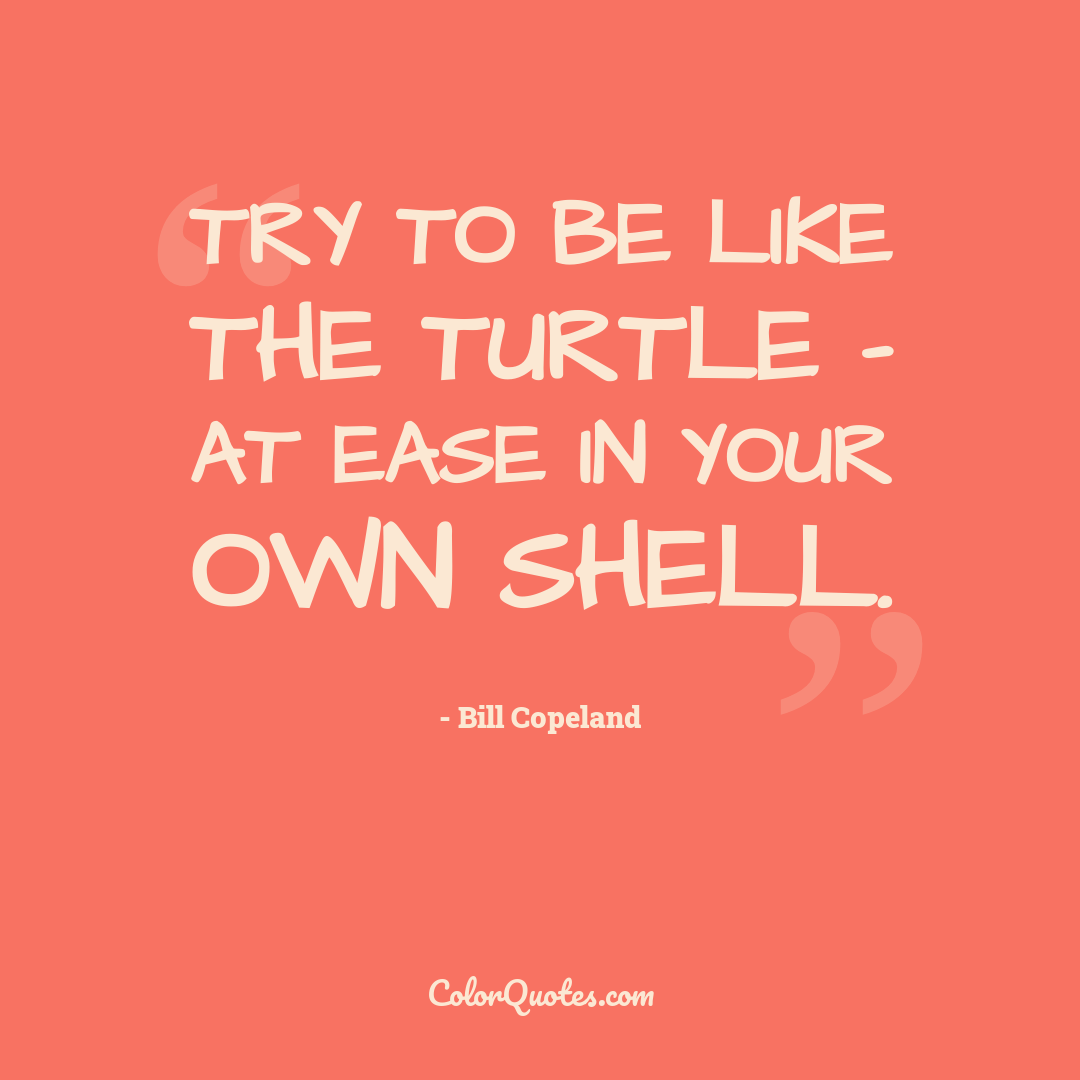 Try to be like the turtle - at ease in your own shell.