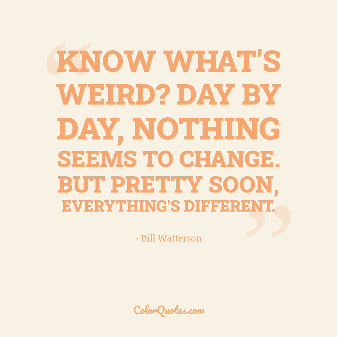 Know what's weird? Day by day, nothing seems to change. But pretty soon, everything's different.