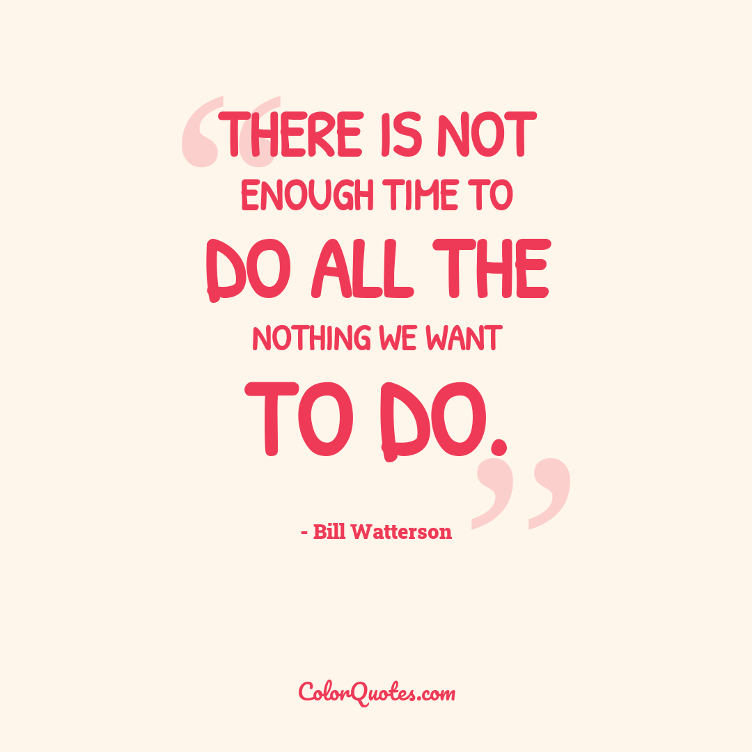 There is not enough time to do all the nothing we want to do.
