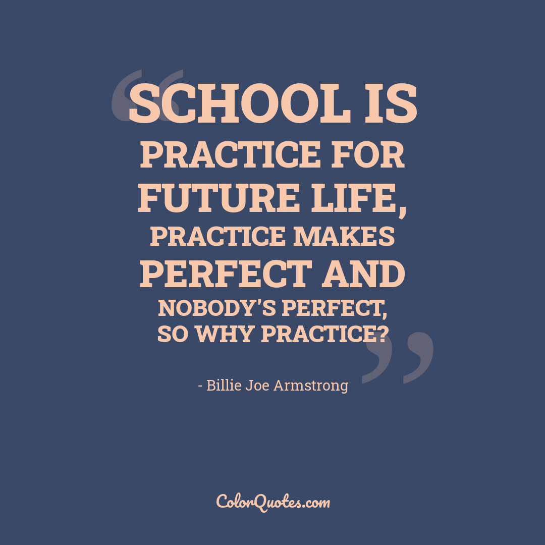 School is practice for future life, practice makes perfect and nobody's perfect, so why practice?