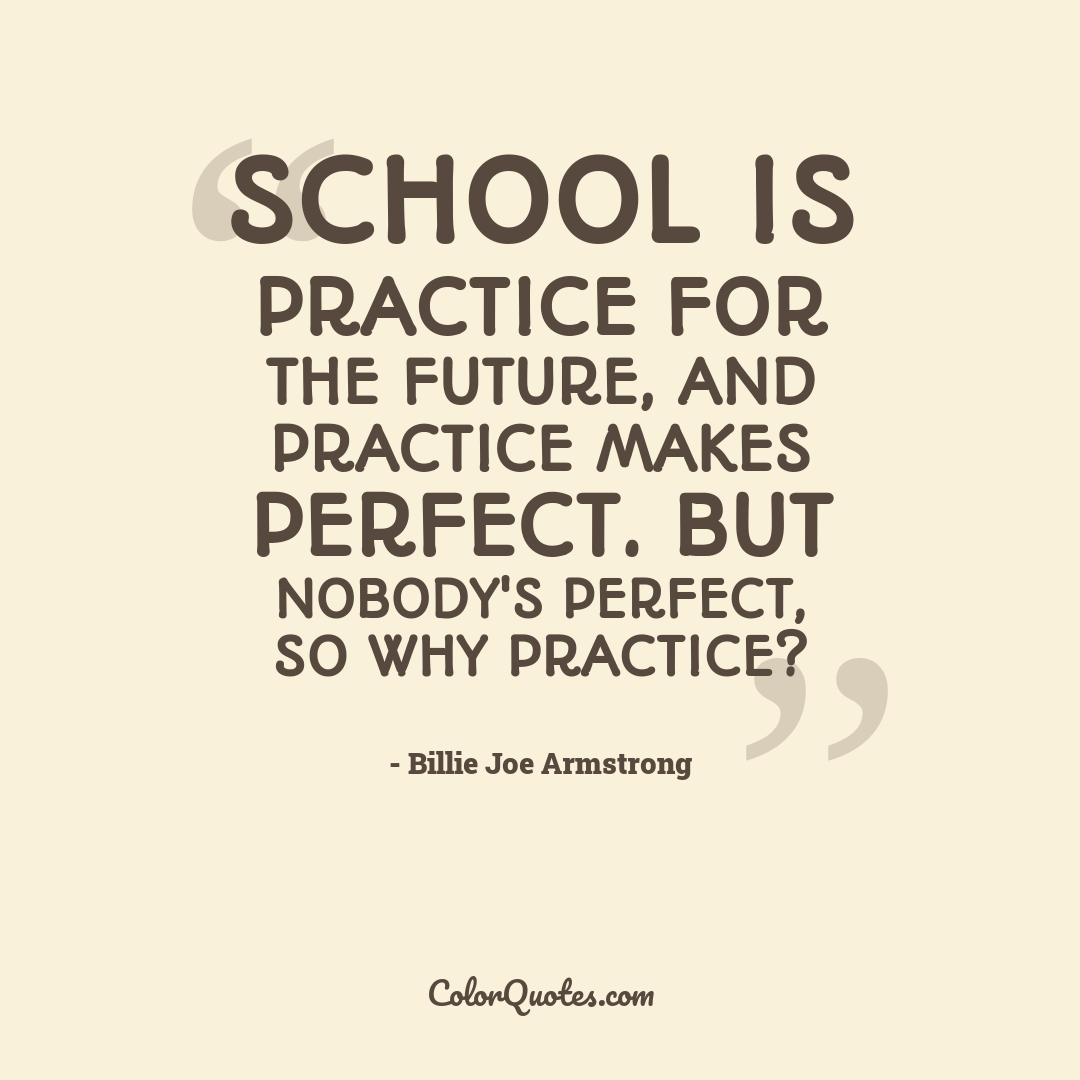 School is practice for the future, and practice makes perfect. But nobody's perfect, so why practice?