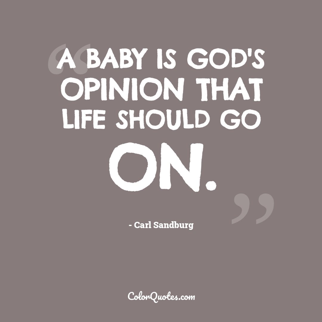 A baby is God's opinion that life should go on. by Carl Sandburg