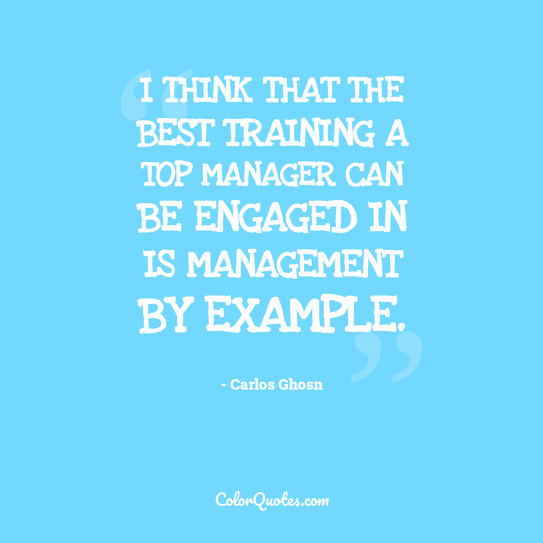 I think that the best training a top manager can be engaged in is management by example.