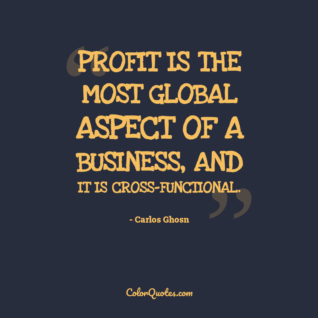 Profit is the most global aspect of a business, and it is cross-functional.