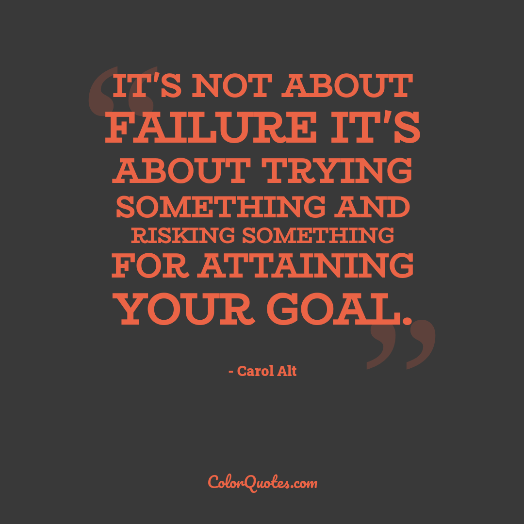 It's not about failure it's about trying something and risking something for attaining your goal.