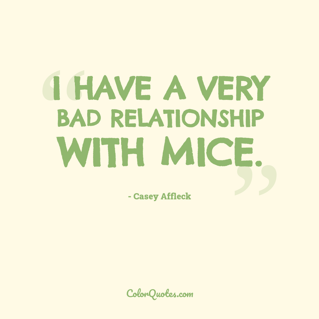 I have a very bad relationship with mice.