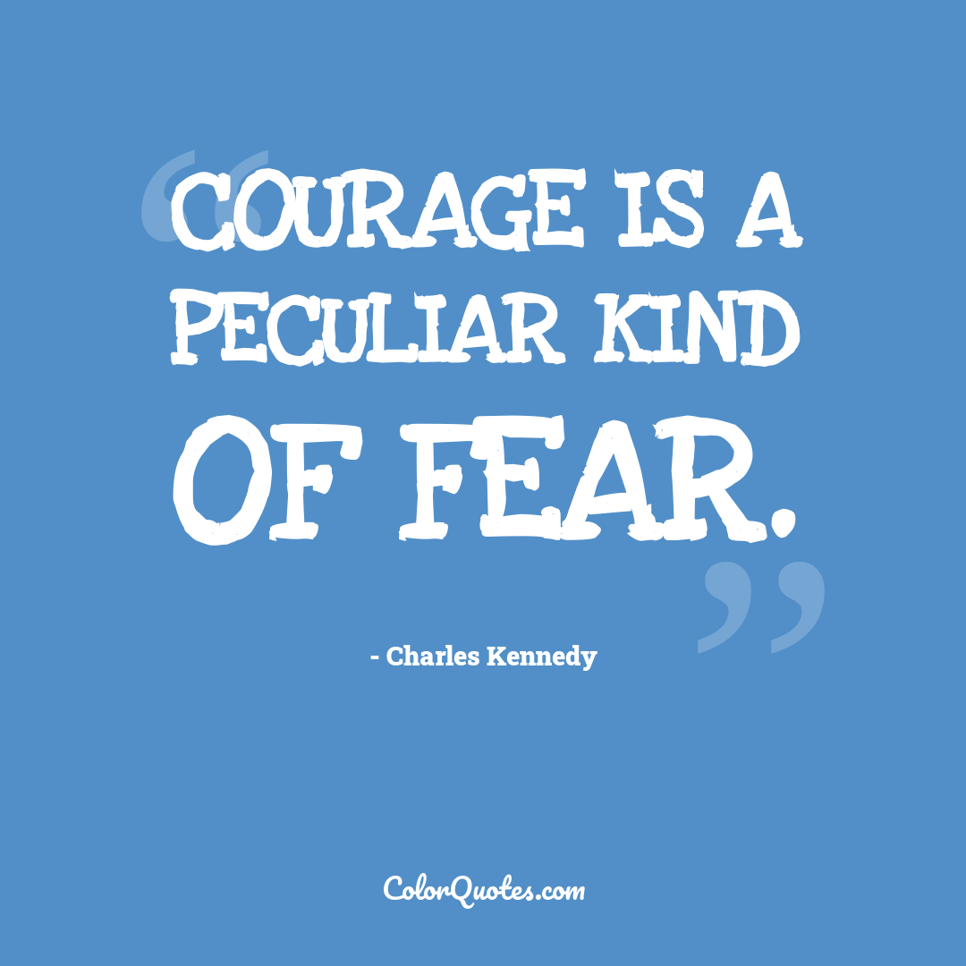 Courage is a peculiar kind of fear.