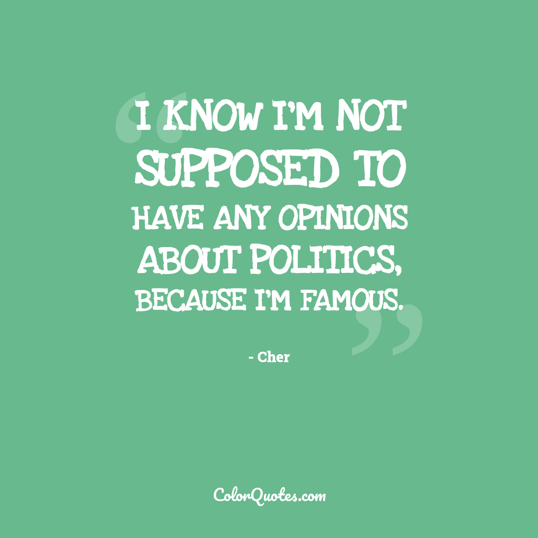 I know I'm not supposed to have any opinions about politics, because I'm famous.
