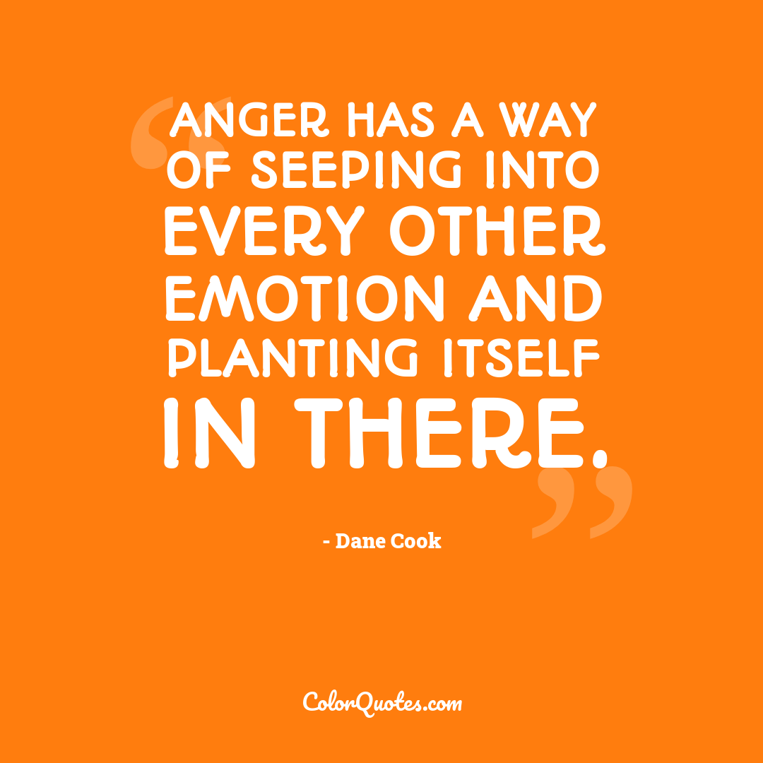 Anger has a way of seeping into every other emotion and planting itself in there.