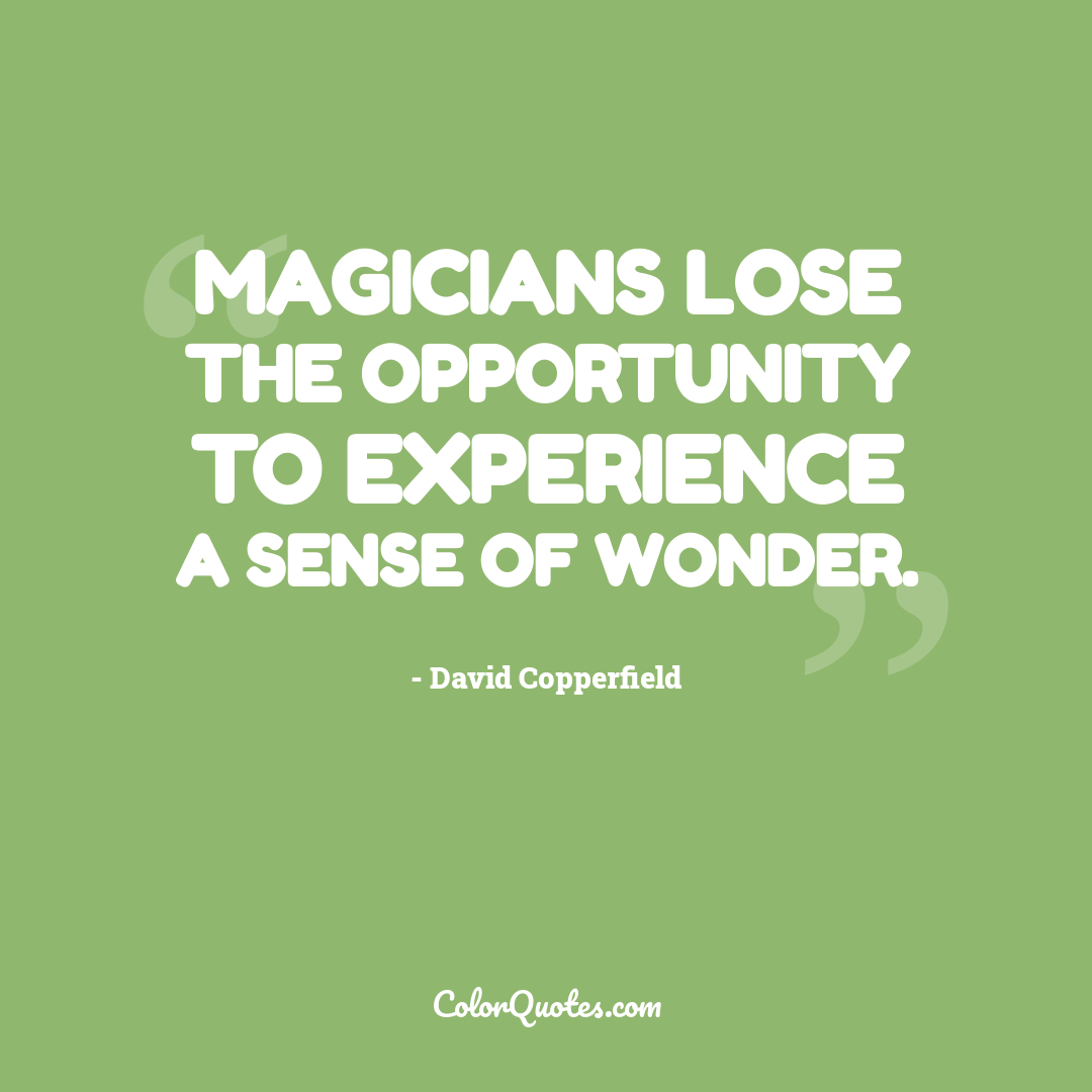 Magicians lose the opportunity to experience a sense of wonder.