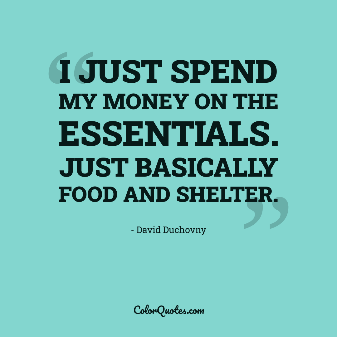 I just spend my money on the essentials. Just basically food and shelter.