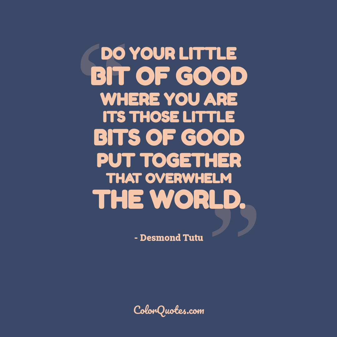 Do your little bit of good where you are its those little bits of good put together that overwhelm the world.