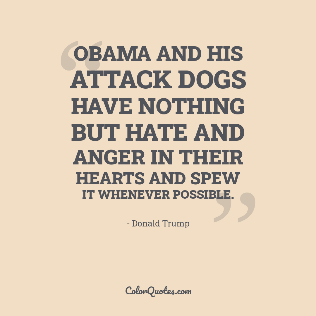 Obama and his attack dogs have nothing but hate and anger in their hearts and spew it whenever possible.