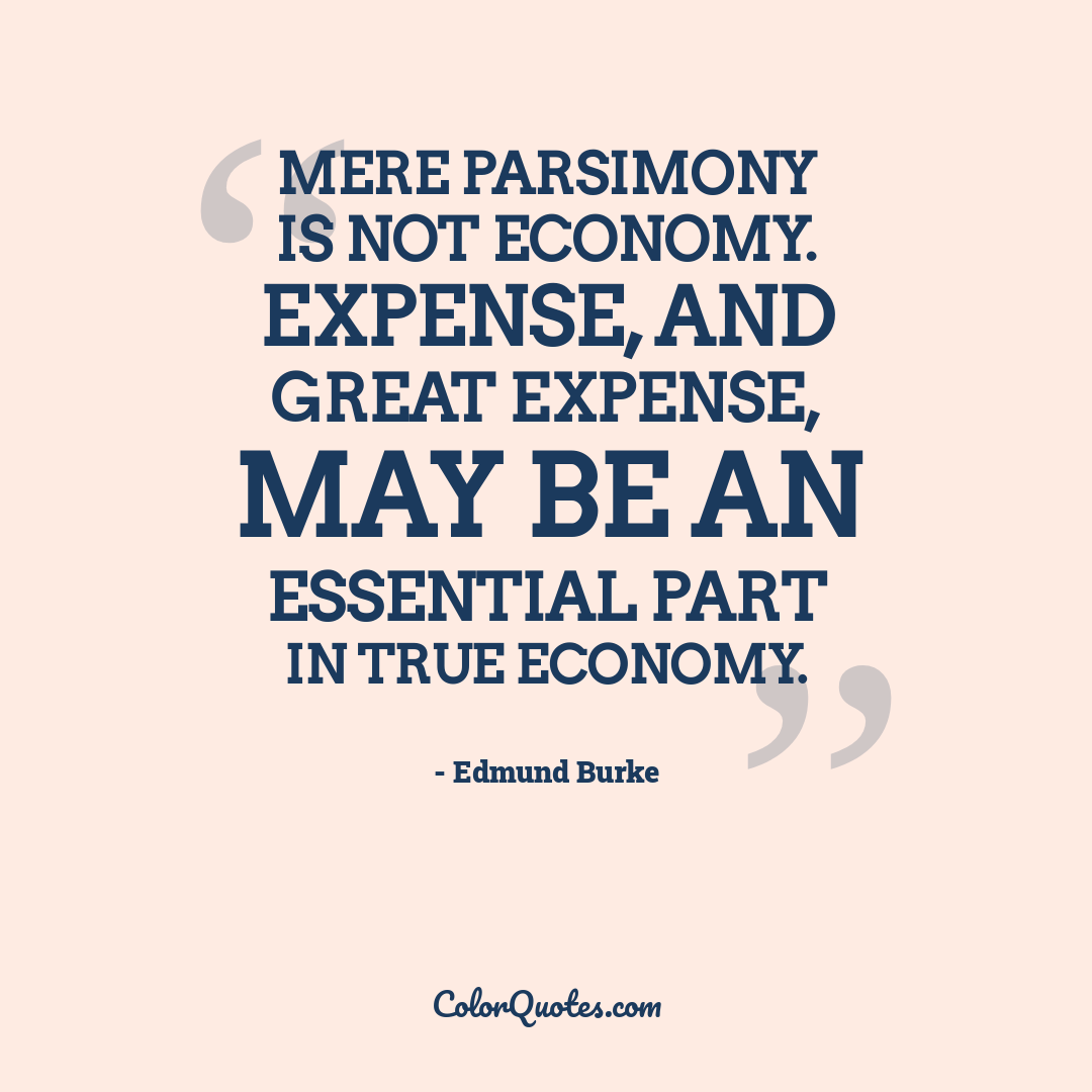 Mere parsimony is not economy. Expense, and great expense, may be an essential part in true economy.