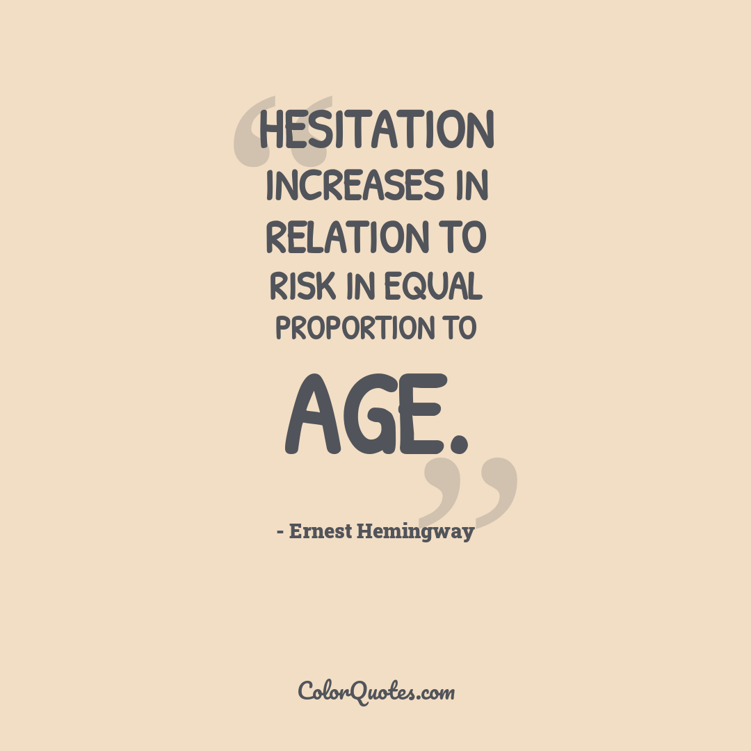 Hesitation increases in relation to risk in equal proportion to age.