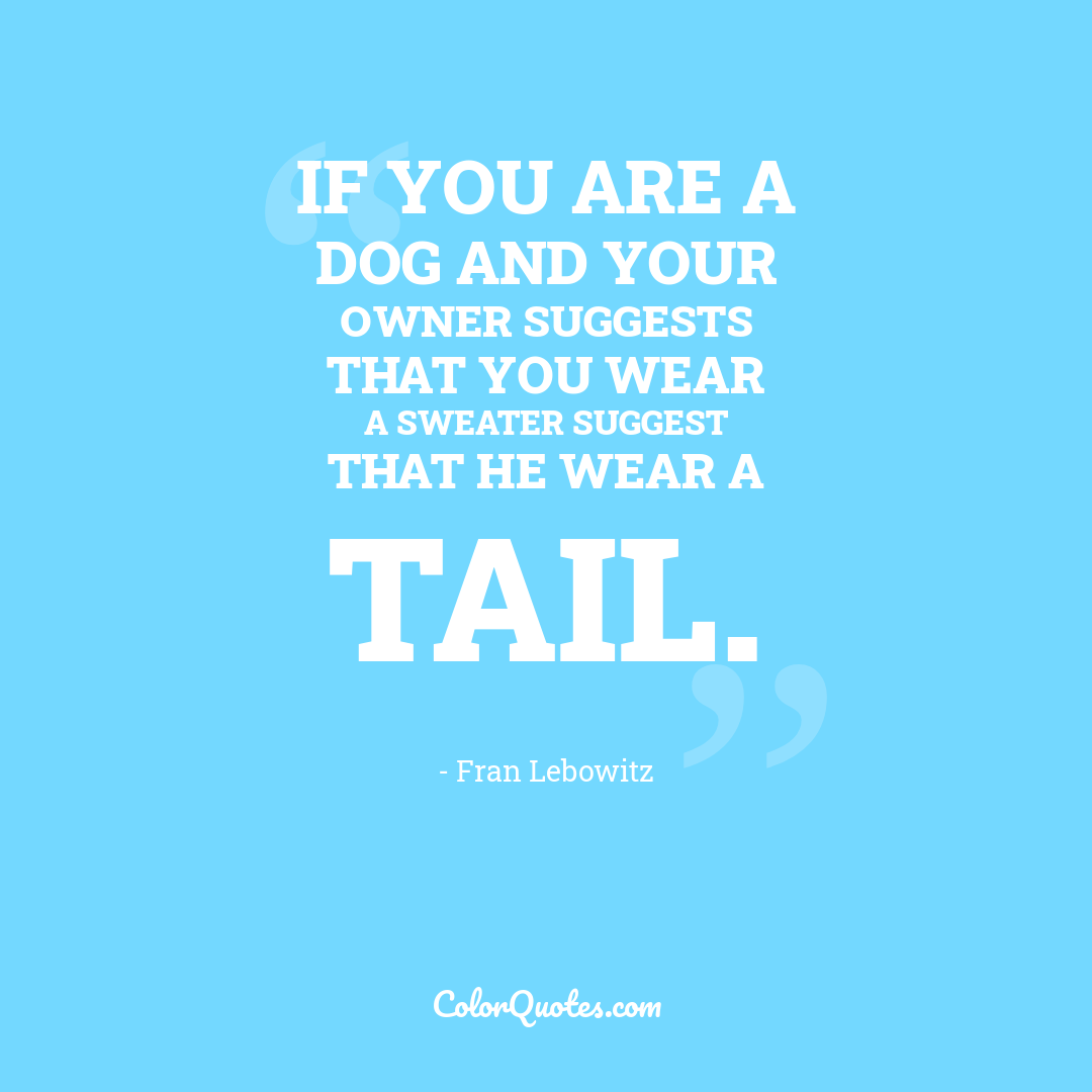 If you are a dog and your owner suggests that you wear a sweater suggest that he wear a tail.