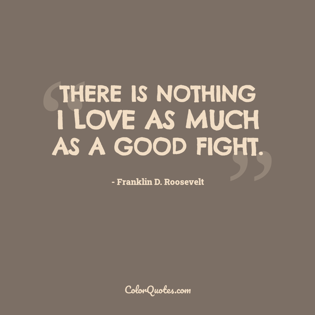 There is nothing I love as much as a good fight.