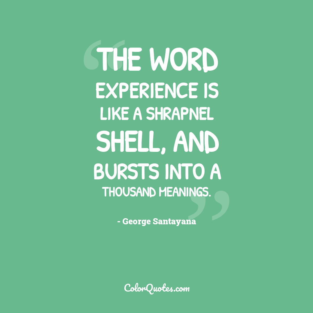 The word experience is like a shrapnel shell, and bursts into a thousand meanings.