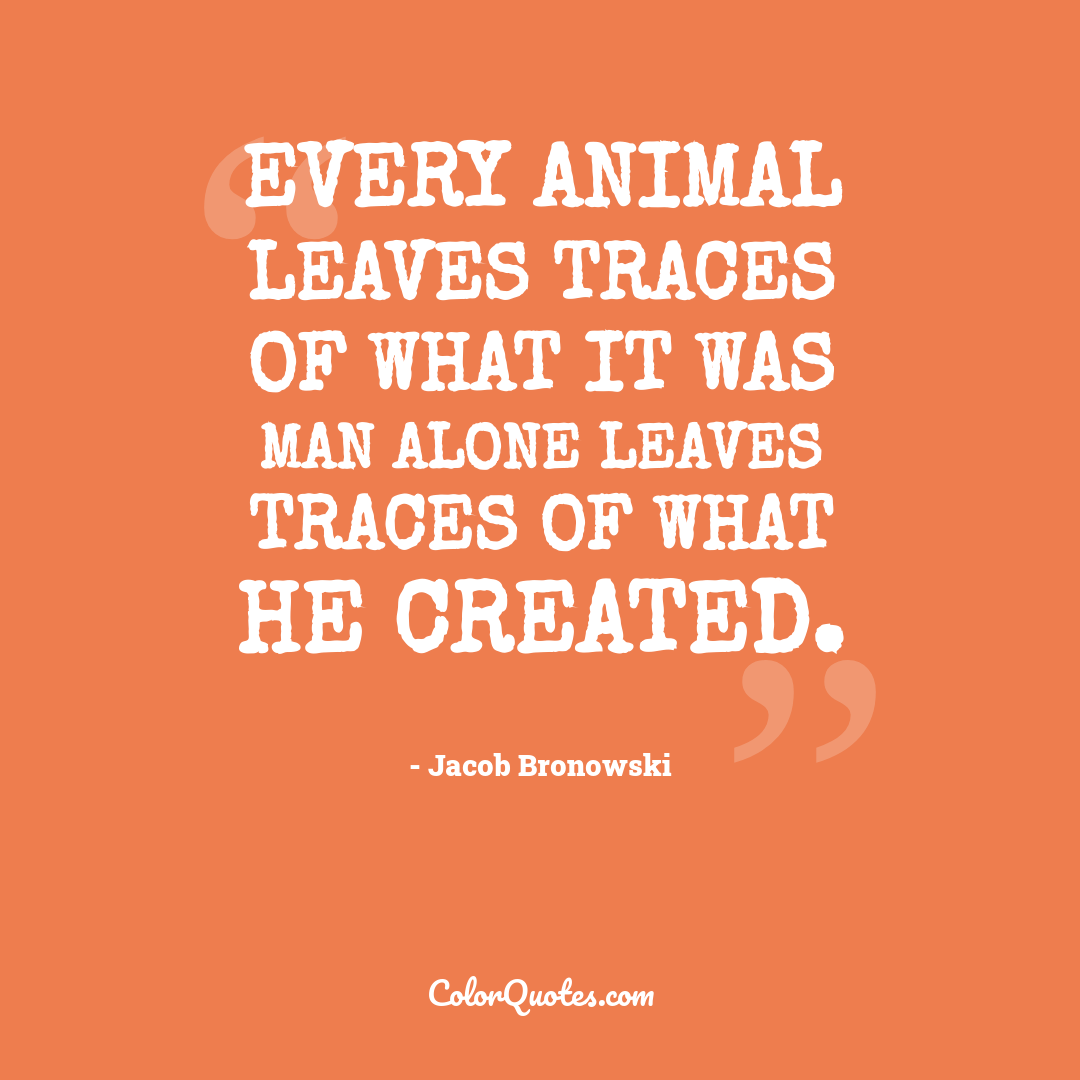 Every animal leaves traces of what it was man alone leaves traces of what he created.