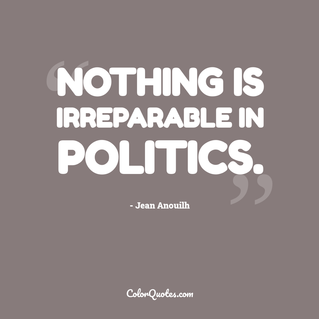 Nothing is irreparable in politics.