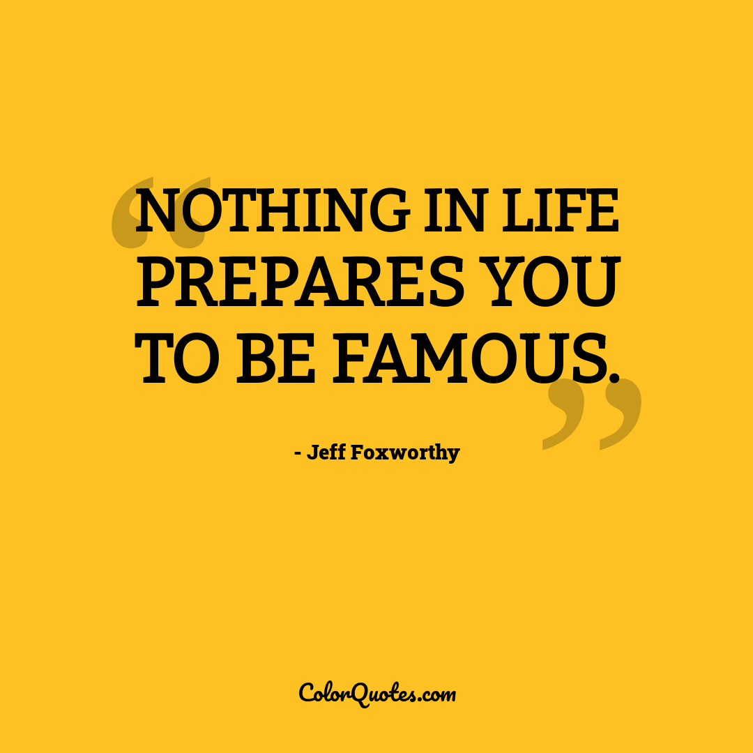 Nothing in life prepares you to be famous.