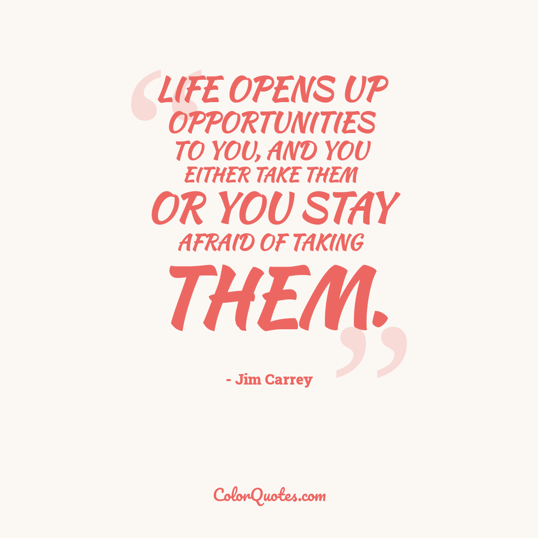Life opens up opportunities to you, and you either take them or you stay afraid of taking them.