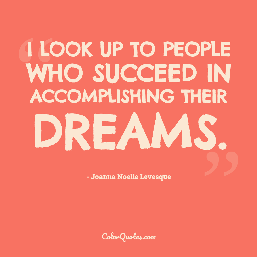 I look up to people who succeed in accomplishing their dreams.