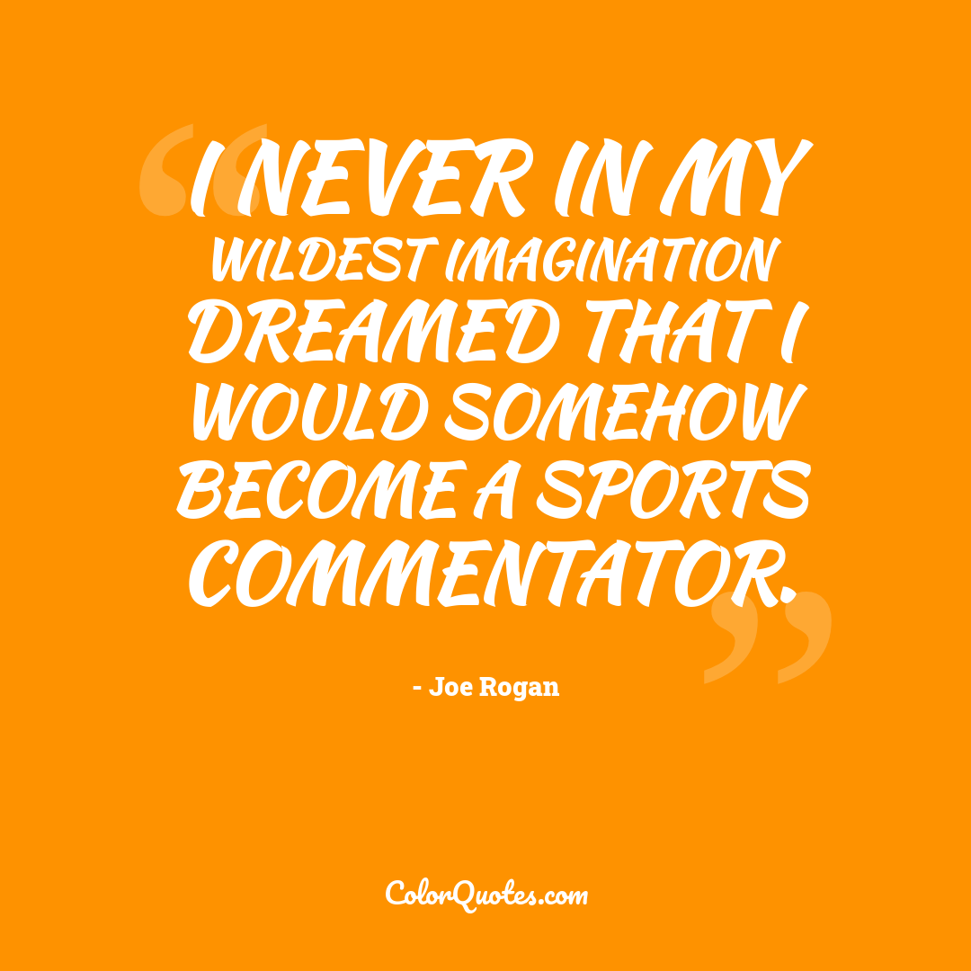 I never in my wildest imagination dreamed that I would somehow become a sports commentator.
