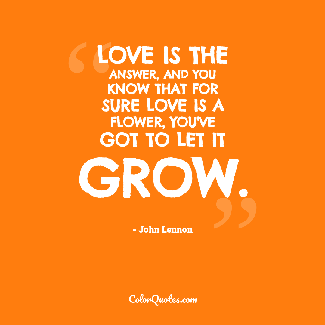 Love is the answer, and you know that for sure Love is a flower, you've got to let it grow.