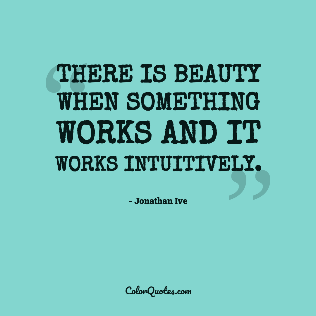 There is beauty when something works and it works intuitively.