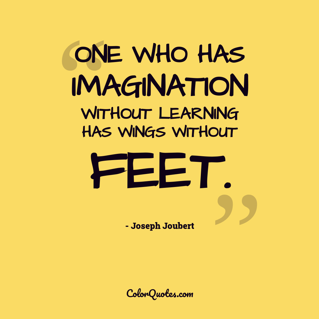 One who has imagination without learning has wings without feet.