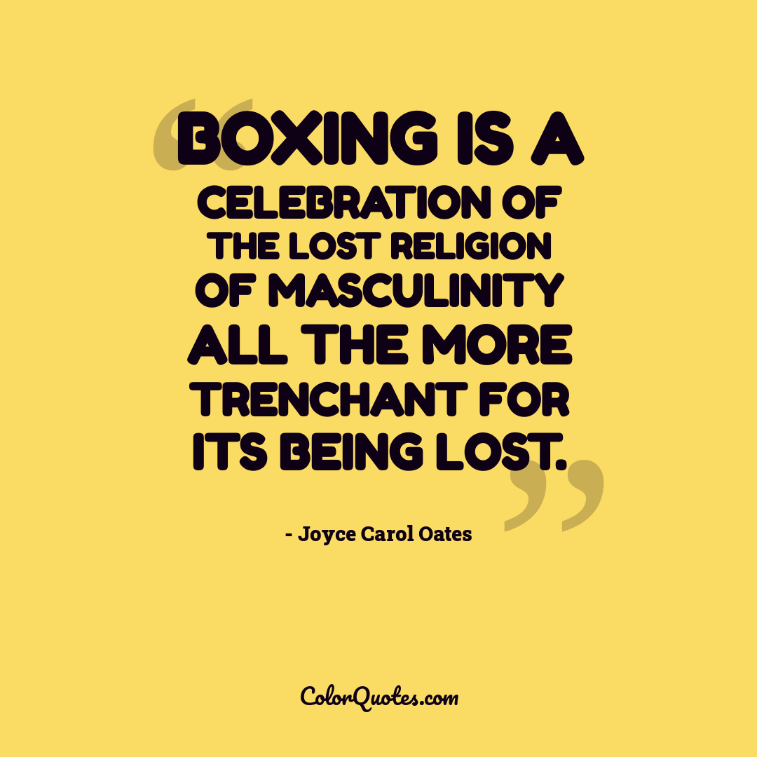 Boxing is a celebration of the lost religion of masculinity all the more trenchant for its being lost.