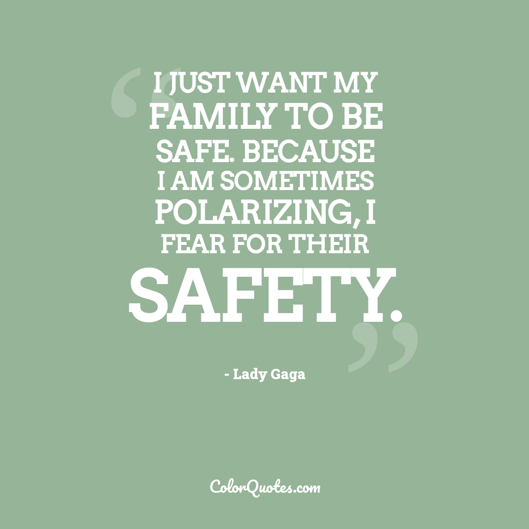 I just want my family to be safe. Because I am sometimes polarizing, I fear for their safety.