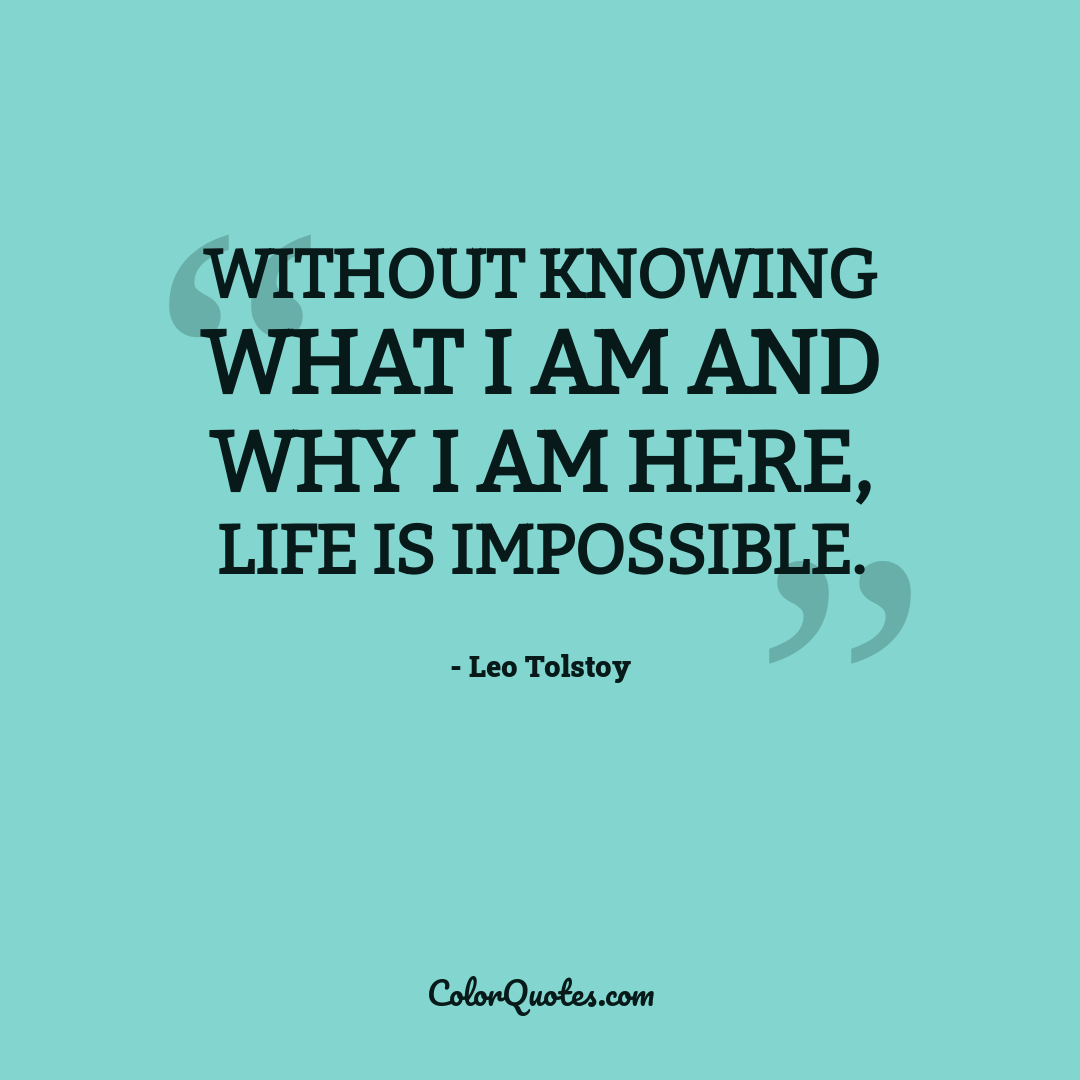 Without knowing what I am and why I am here, life is impossible.