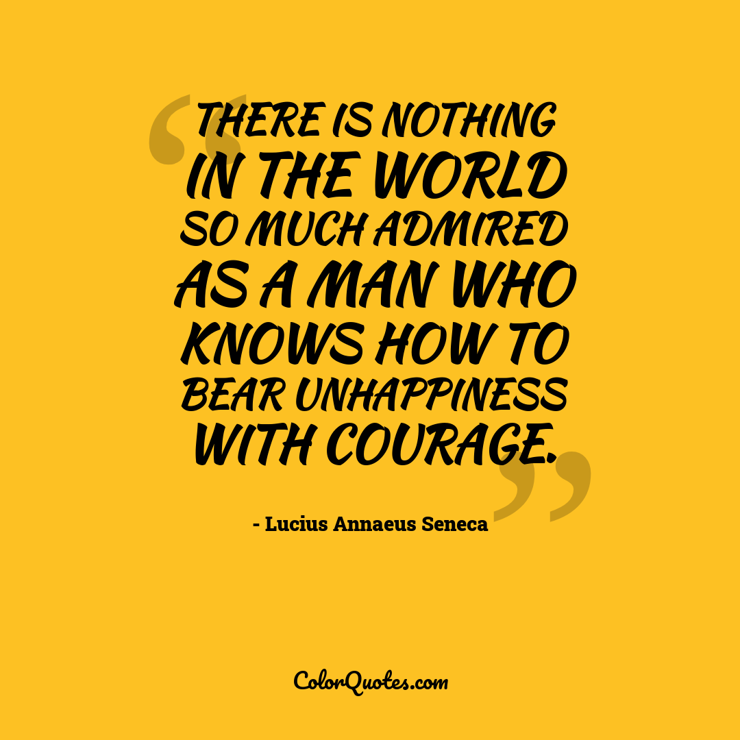 There is nothing in the world so much admired as a man who knows how to bear unhappiness with courage.