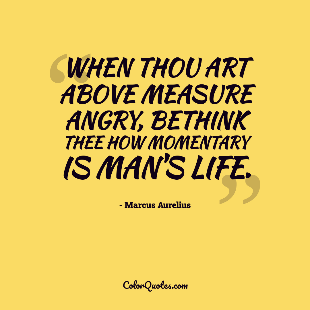 When thou art above measure angry, bethink thee how momentary is man's life.