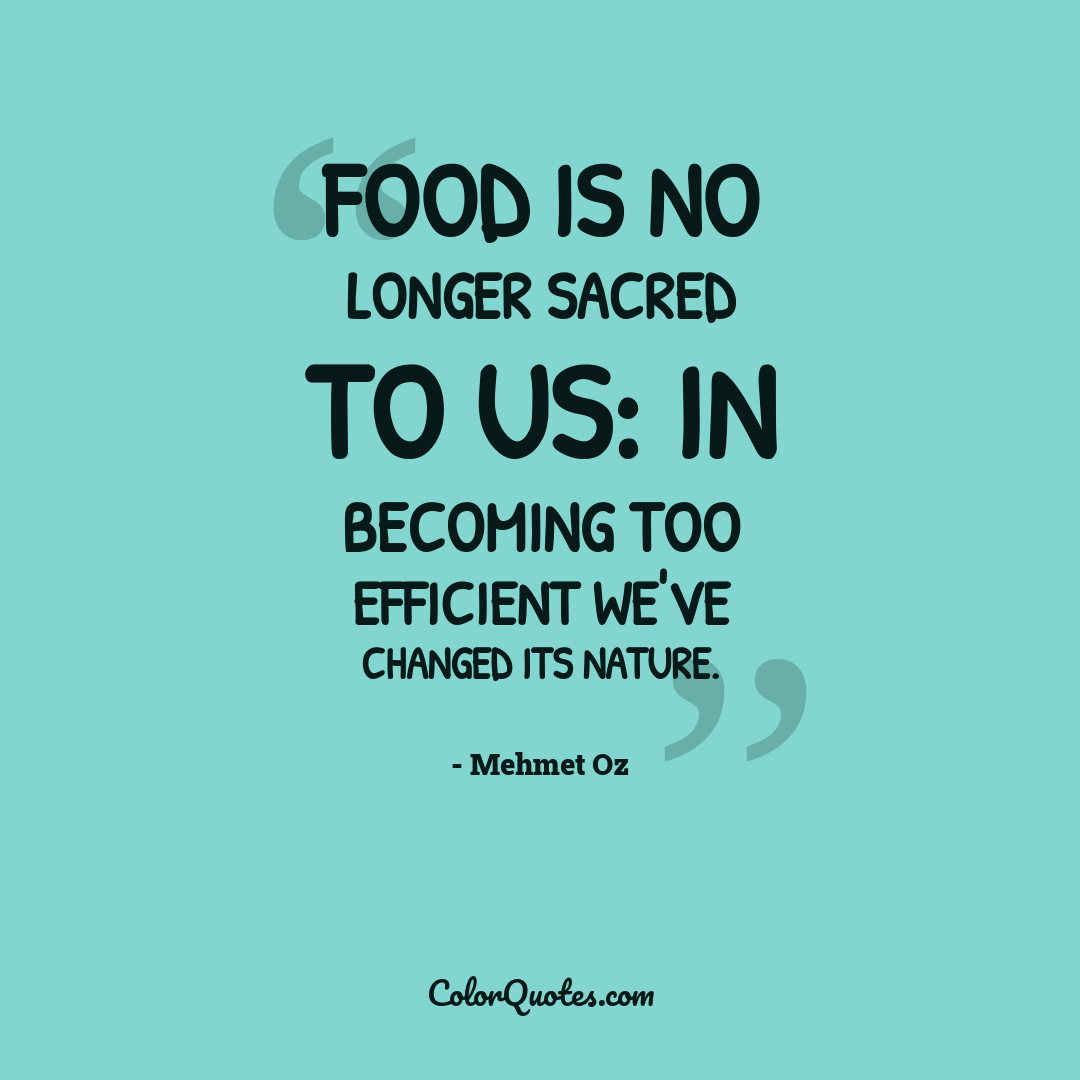 Food is no longer sacred to us: in becoming too efficient we've changed its nature.