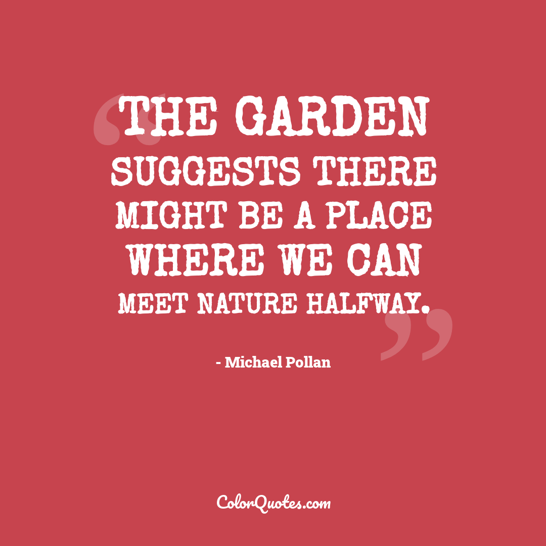 The garden suggests there might be a place where we can meet nature halfway.