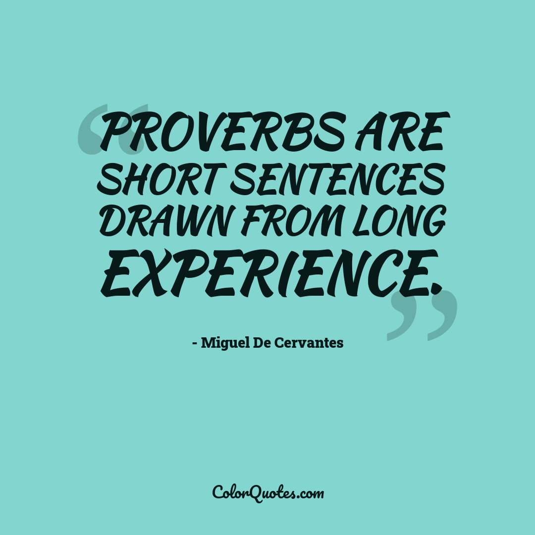 Proverbs are short sentences drawn from long experience.