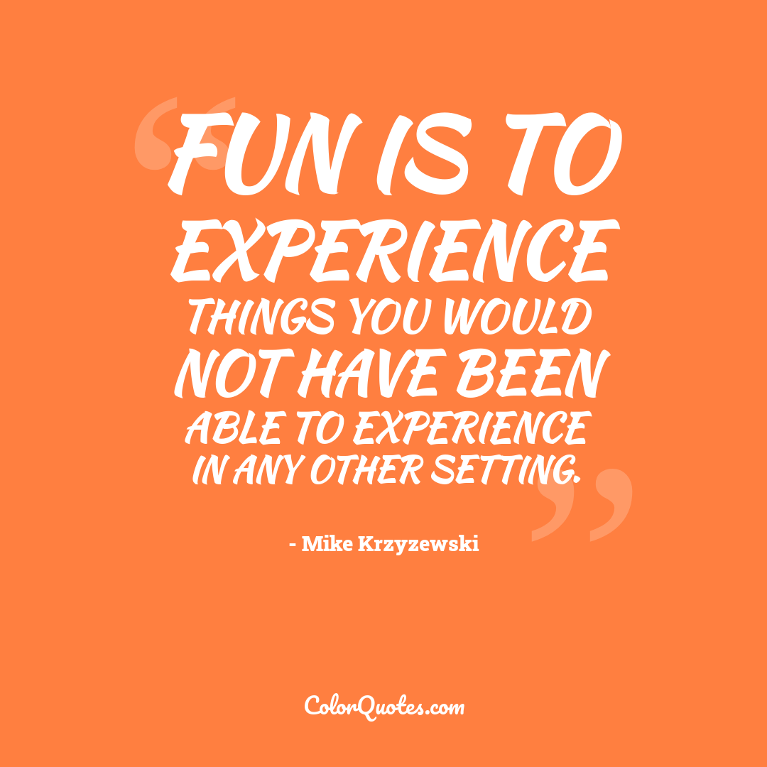 Fun is to experience things you would not have been able to experience in any other setting.
