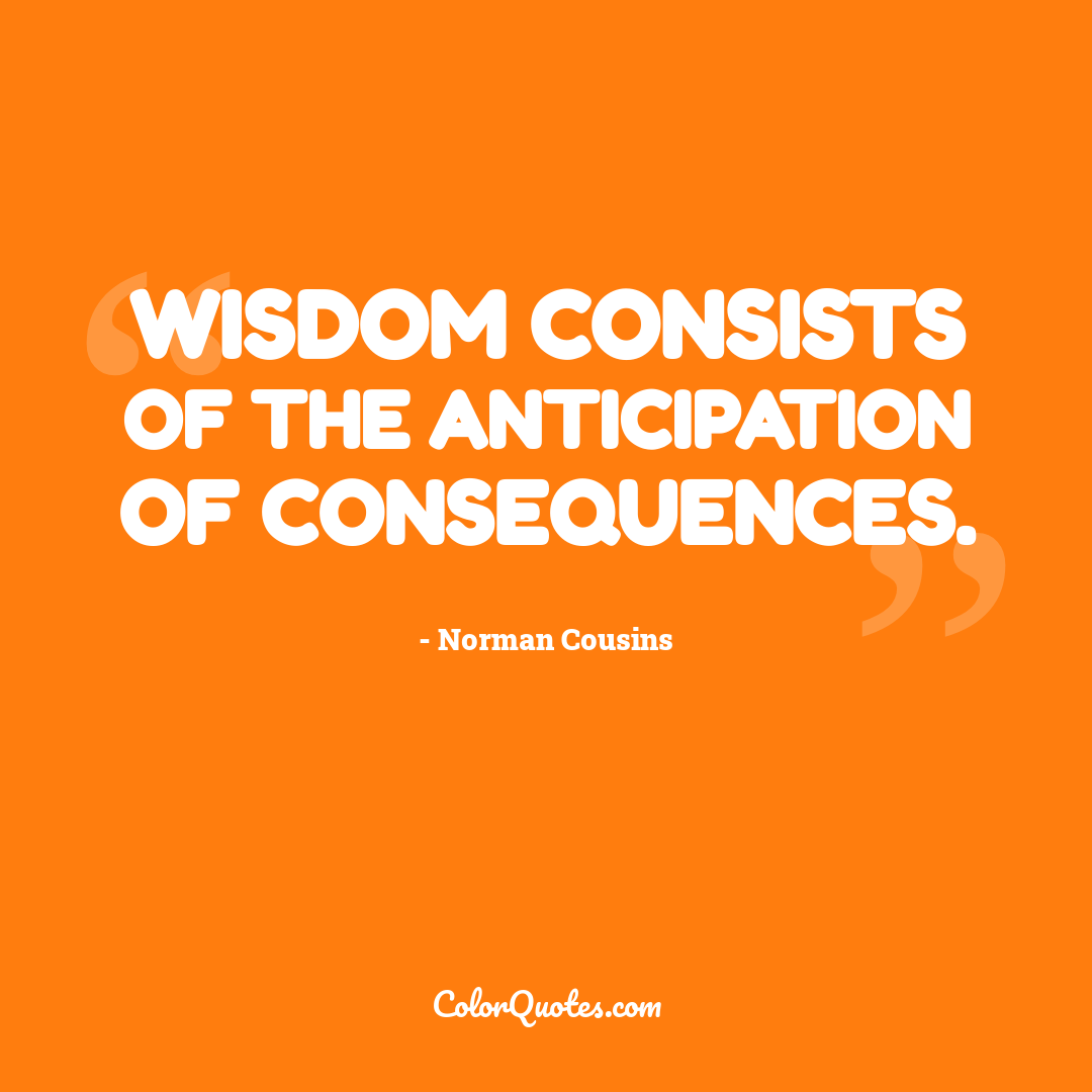 Wisdom consists of the anticipation of consequences.