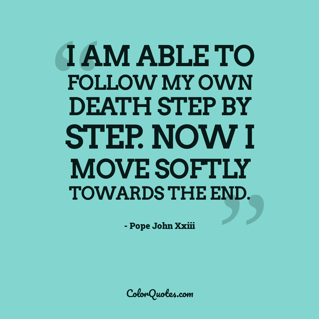 I am able to follow my own death step by step. Now I move softly towards the end.