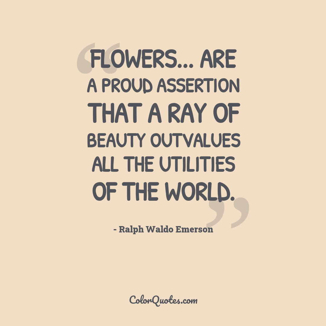 Flowers... are a proud assertion that a ray of beauty outvalues all the utilities of the world.